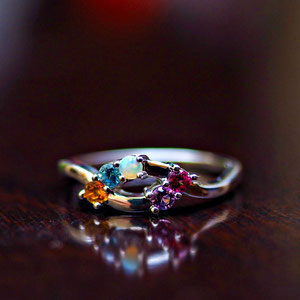 CS 47  - 14K white gold mother's ring with opal, amethyst, ruby, blue topaz, and citrine.