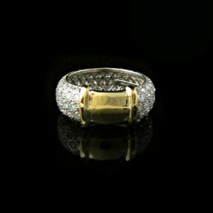 B21 - Pave' set platinum band with 18K yellow gold insert.