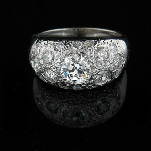 DF 19 - 14K white gold dome ring with bead set diamonds.