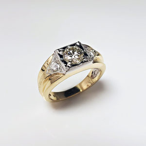 G 25 - 14K two tone gents ring with diamonds.