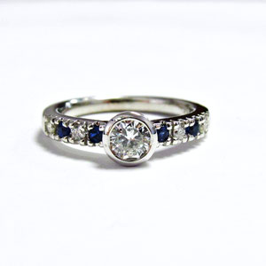 B 1 - After - Diamonds and Sapphires remounted in 14K white gold.