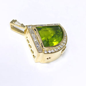 P 109 - 14K yellow gold custom necklace with fancy cut peridot, baguette and round diamonds.