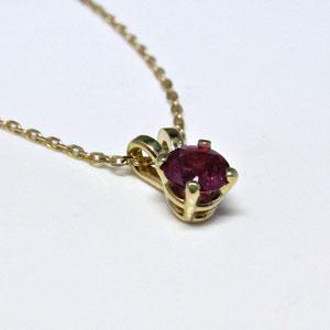 P 57 - 14K yellow gold  basket style pendant with rhodolite garnet.
