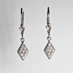 E 30 - 14k white gold lecerbacks with bead set diamond drops.