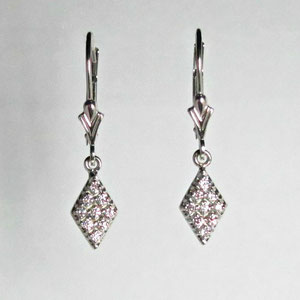 E 30 - 14k white gold lecerbacks with bead set diamond drops.