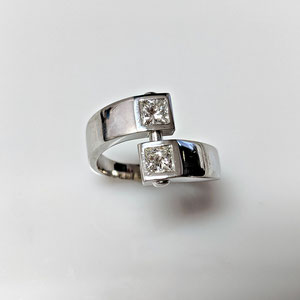 DF 48 - 14K white gold custom bypass ring with square diamonds.