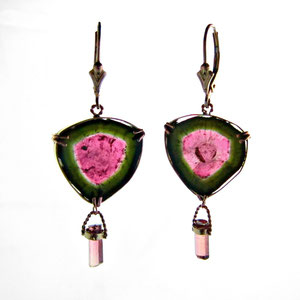 E 9 - 14K yellow and rose gold earrings with watermelon tourmaline.