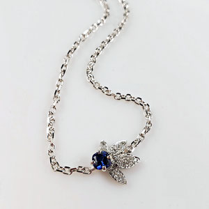 BR 16 - 14K white gold cable chain bracelet with sapphire and pave set diamonds.