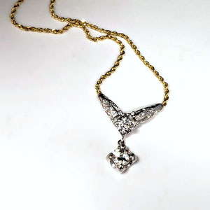 P 117 - 14K two toned necklace made from contributions or 3 generations of a family.
