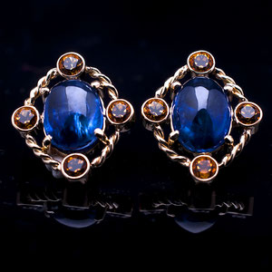 JS 3.1 - 14K yellow gold earrings featuring kyanite centers and four bezel set citrines with twist wire accents.
