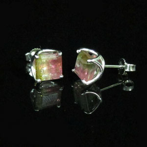 E 25 - 14K white gold earrings with watermelon tourmalines.