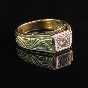 DF 2 - 14K two toned gold ring with congnac diamond.