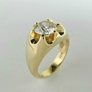 G 12 - 14k yellow gold and diamond belcher style ring.