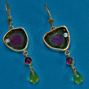 E 37 - 14k yellow gold dangle earrings featuring watermelon tourmaline slices accented with diamonds, pink tourmalines, and peridots.
