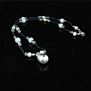JS 7.2 - 14K white gold necklace with south sea pearl, aquamarine beads, hematite beads, and pearls.