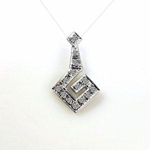 P 131 - 14K white pendant with .15 ct. tw. single cut diamonds.