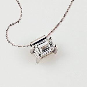 P 129 -  14K white gold  pendant with .20ct. emerald cut diamond on 18in. fine chain.