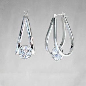 E 35 - 14k white gold fabricated hoop earrings with bezel set cubic zirconia.