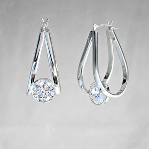 E 35 - 14k white gold fabricated hoop earrings with bezel set cubic zirconia.