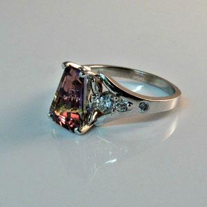 CS 12 - 14K  white gold ring with ametrine and diamonds.