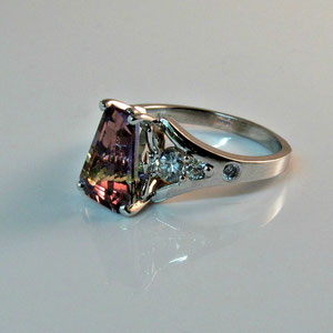 CS 12 - 14K  white gold ring with ametrine and diamonds.