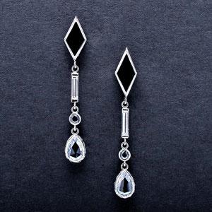 E 11 - 14K white gold drops featuring onyx, white, black and rose cut diamonds.