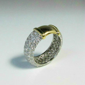 DF 21 - Platinum and diamond pave band repaired with 18k yellow gold.