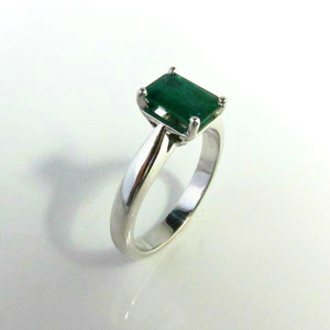 CS 28 - 14K white gold ring with emerald cut emerald.