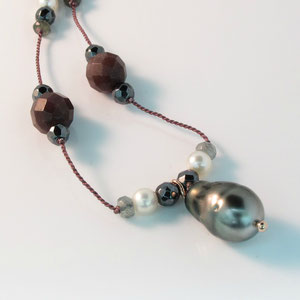 JS 6.1 - 14K white gold necklace with south sea pearl, aquamarine beads, hematite beads, and pearls.