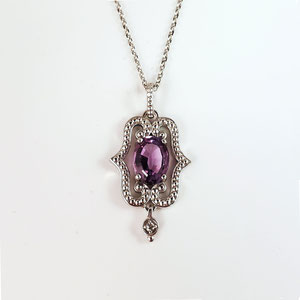 P 99 - 14K white gold pendant with amethyst and melee diamond.