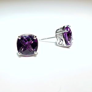 E 104 - 14K white gold ring with checkerboard cut amethyst.