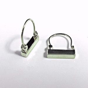 E 36 - 14k white gold simple bar earrings.