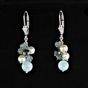 JS 7.1 - 14K white gold earrings with aquamarine beads, hematite beads, and pearls.