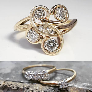 BA 22 - Top picture - Remount using stones from the 3 rings in the bottom picture.