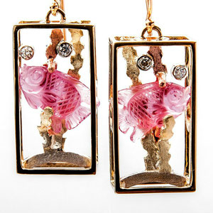 E 33 - Fabricated 14k rose, green, yellow, and white gold aquariums with carved pink tourmaline and whimsical daimond bubbles.