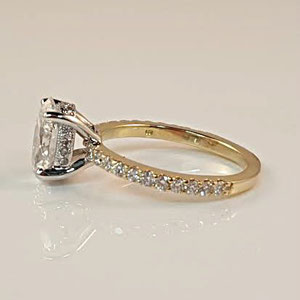 WF 11 - 14K two toned engagement ring with center oval diamond surrounded by a halo of mele diamonds.
