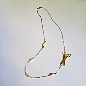 P 87 - 14K white gold necklace with pearls and a yellow gold scissor charm.