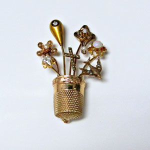 PB 19 - Gold brooch made from a vintage thimble and vintage hat pins.