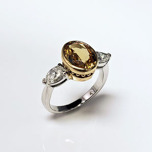 CS 55 -   14K two toned ring with yellow garnet and pear shaped diamonds.