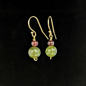 E 108 - Iolite and Jade earrrings.