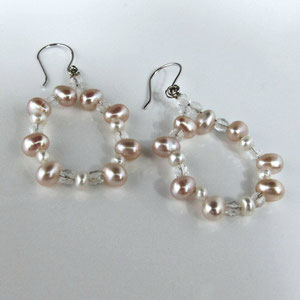 E 44 - 14K white gold dangle earrings with pink and white pearls and quartz beads.