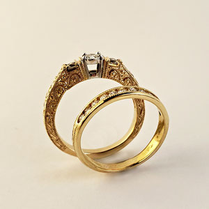 DF 44 - 14K yellow gold wedding set with diamonds and a granulated texture.