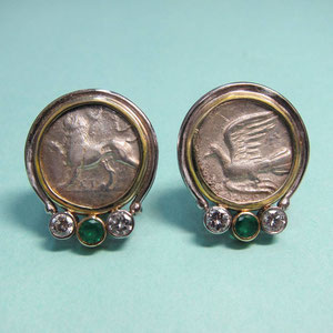 E5 - 14K two toned gold  earrings with antique coins, emeralds, and diamonds.
