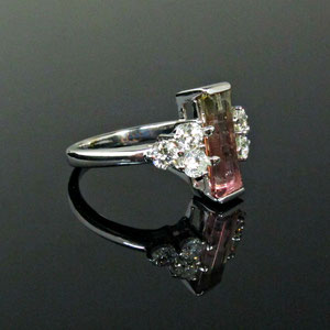 CS 34 - 14K white gold ring with emerald cut watermelon tourmaline and side diamonds.