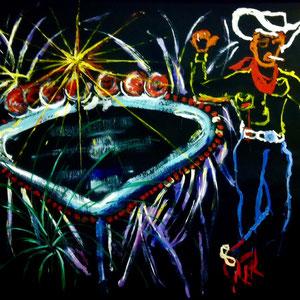 """""""Las Vegas"""" Bühnenbild für """"Die glorreichen Diven"""" Acryl/Papier 2013"""
