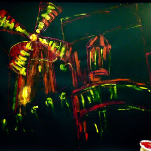 """""""Moulin Rouge"""" Bühnenbild für """"Die glorreichen Diven"""" Acryl/Papier 2013"""