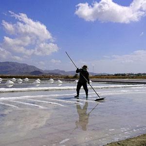 Salz-Gewinnung in Vietnam – Meerwasser wird in Verdunstungsbecken eingeleitet