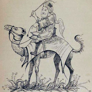 G.L. SCHLUMBERGER, Corriere saraceno che monta un cammello, da un antico manoscritto arabo appartenuto a Ch. Schefer (1890)