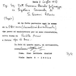 Una ricevuta rilasciata dal comm. Giuffrè al dr. Francesco Baccalà di San Giovanni Rotondo, per 2 milioni e 200 mila lire (all'epoca, una somma non indifferente)