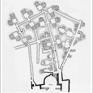 """Romba, Catacombe di Domitilla: pianta della regione """"retro sanctos"""" situata alle spalle della basilica dei SS Nèreo e Achìlleo"""